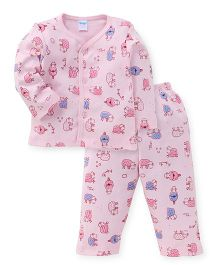 Tango Full Sleeves Night Suit Allover Print - Pink