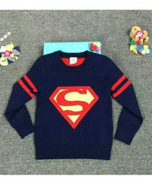 Cherubbaby Superhero Print Sweater - Navy Blue