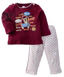 Tango Full Sleeves T-Shirt And Legging Little Bear And Travel Print - Maroon & White