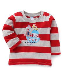 Tango Full Sleeves Striped T-Shirt Boat And Animal Print - Red & Grey