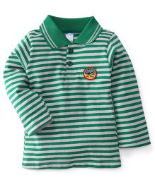 Tango Collar Neck Striped T-Shirt My Car Patch - Green