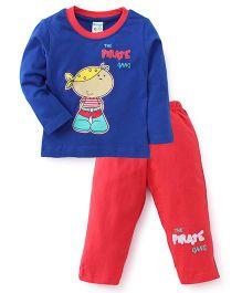 Tango Full Sleeves T-Shirt And Leggings The Pirate Gang Print - Royal Blue