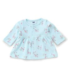 Simply Full Sleeves Front Button Floral Printed Frock - Aqua