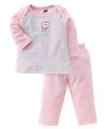 Simply Full Sleeves Striped Top And Dotted Leggings Set - Light Pink