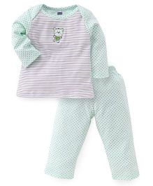 Simply Full Sleeves Striped Top And Dotted Leggings Set - Light Green