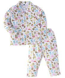 Teddy Full Sleeves Multi Printed Night Suit - White