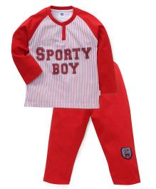 Teddy Raglan Sleeves Printed Night Suit - White Red