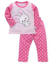 Teddy Full Sleeves Printed Night Suit - Blush Pink
