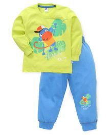 Teddy Full Sleeves Printed Night Suit - Green Blue