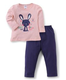 Simply Full Sleeves Dotted Top With Bunny Print And Leggings Set - Peach & Navy