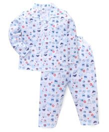 Teddy Full Sleeves Multi Print Night Suit - White