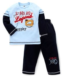 Teddy Full Sleeves Printed Nightwear T-Shirt And Pants - Blue Navy