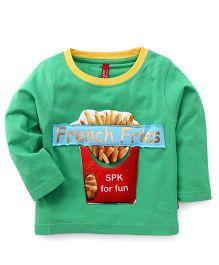 Spark Full Sleeves T-Shirt French Fries Print - Green