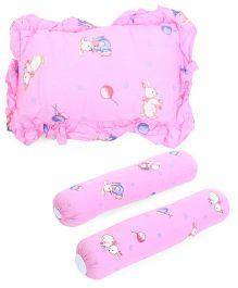 Owen 2 Bolster 1 Pillow Set - Pink