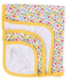Ohms Baby Blanket Allover Bird Print - Yellow & Multicolor