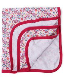 Ohms Terry Blanket Allover Print - Pink & White