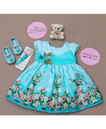 Rose Couture Floral Printed Dress Set - Sea Green