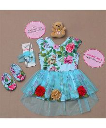 Rose Couture Floral Jaquard Print Dress Set - Blue