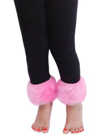D'chica Lined With Fur Leggings For Girls - Black & Pink