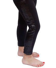 D'chica Glam Disco Inspired Sequined Panel Leggings For Girls - Black