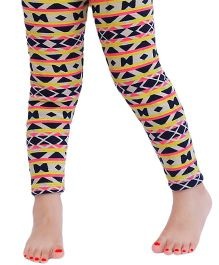 D'chica The Warm And Toasty Abstract Printed Leggings For Girls - Multicolour