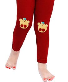 D'chica Chic Cartoon Applique Leggings For Girls - Maroon
