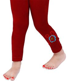 D'chica Cute Crochet Flower Applique Leggings For Girls - Maroon
