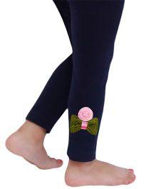 D'chica The Bow And Flower Motif Leggings For Girls - Navy Blue