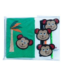 Li'll  Pumpkins Stationery Set With Funky Monkey Applique - Green