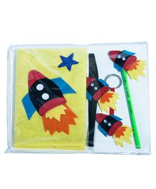 Li'll  Pumpkins Stationery Set With Fly High Rocket Applique - Yellow