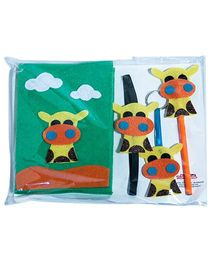 Li'll  Pumpkins Stationery Set With Giraffe Applique - White & Green