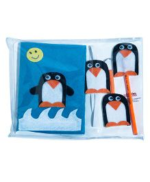 Li'll  Pumpkins Stationery Set With Penguin Applique - Blue