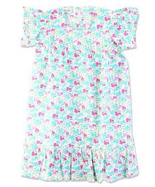 Bownbee Floral Full Length Nighty Gown - Blue