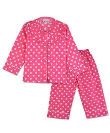 Bownbee Polka Dots Night Suit - Pink