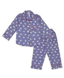 Bownbee Kitty Print Night Suit - Blue
