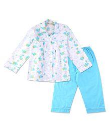 Bownbee Bird Print Night Suit - White & Blue
