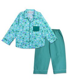 Bownbee Bunny Print Night Suit - Sea Green