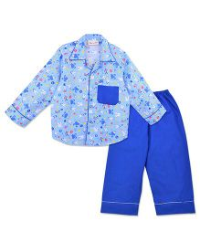 Bownbee Bunny Print Night Suit - Blue