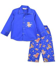 Bownbee Blue Teddy Night Suit - Blue