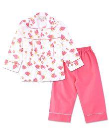 Bownbee Bird Print Night Suit - White & Pink