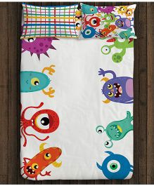 Paper Rockets Monsters Single Bed Sheet - Multicolor
