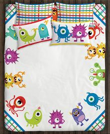 Paper Rockets Monsters Double Bed Sheet - Multicolor