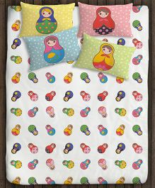 Paper Rockets Russian Dolls Double Bed Sheet - Multicolor