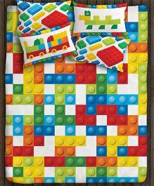 Paper Rockets Blocks Double Bed Sheet - Multicolor