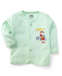 Little Darlings Thermal Vest With Soccer Fan Print - Light Green