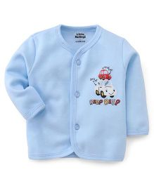 Little Darlings Thermal Vest With Beep Beep Print - Sky Blue