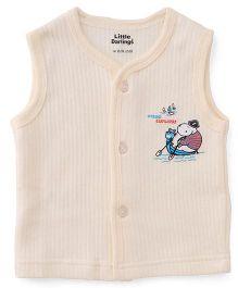 Little Darlings Sleeveless Thermal Vest With Ocean Explorer Print - Yellow