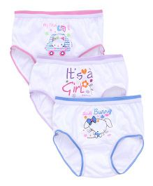 Bodycare Printed Panties Pack Of 3 - White Blue Purple Pink