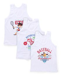 Bodycare Sleeveless Vests Set Of 3 - White(Colours And Print May Vary)