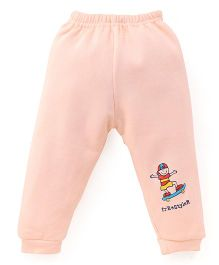Little Darlings Fleece & Thermal Bottoms With Free Style Print - Light Peach